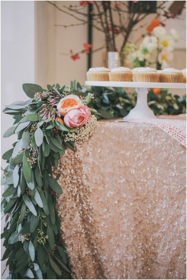 Pale Blush Sequin Linens With Garlands of Fresh Greenery | Edyta Szyszlo Photography | See More! http://heyweddinglady.com/ethereal-woodland-wedding-inspiration-in-ivory-and-blush/