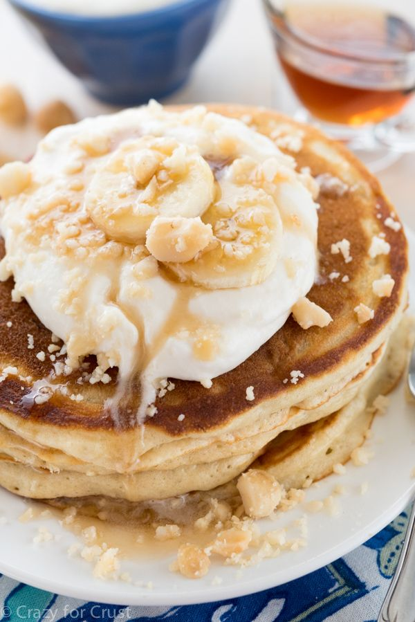 Buttermilk Banana Pancakes with Coconut Maple Syrup - an easy breakfast recipe! Buttermilk makes the banana pancakes super soft and fluffy and they're even better soaked in coconut maple syrup!