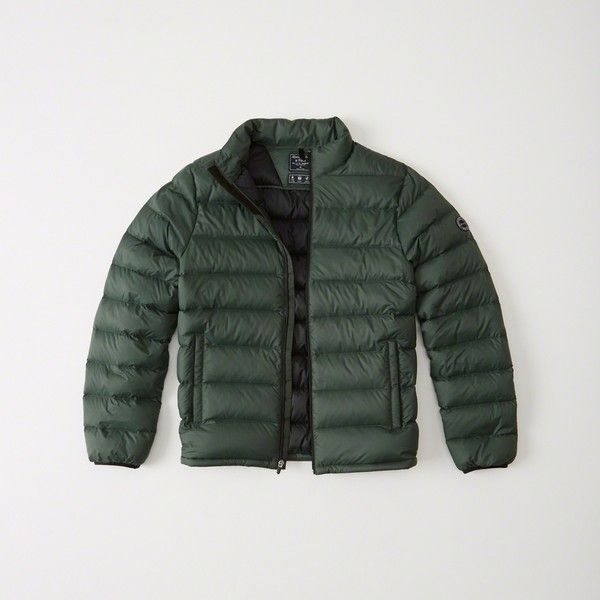 Abercrombie & Fitch Lightweight  Puffer Jacket (7.115 RUB) ❤ liked on Polyvore featuring men's fashion, men's clothing, men's outerwear, men's jackets, green, mens lightweight jacket, mens puffy jacket, mens puffer jacket, mens light weight jackets and men's nano puff jacket