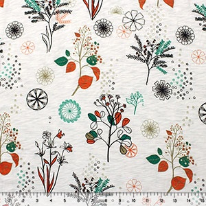 Teal Green Orange Retro Floral Cotton Jersey Slub Knit Fabric