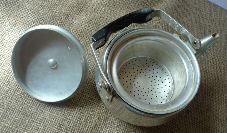 Vintage Soviet USSR Kitchenware Aluminium Tea Pot Kettle marked YULAT 0.8 l