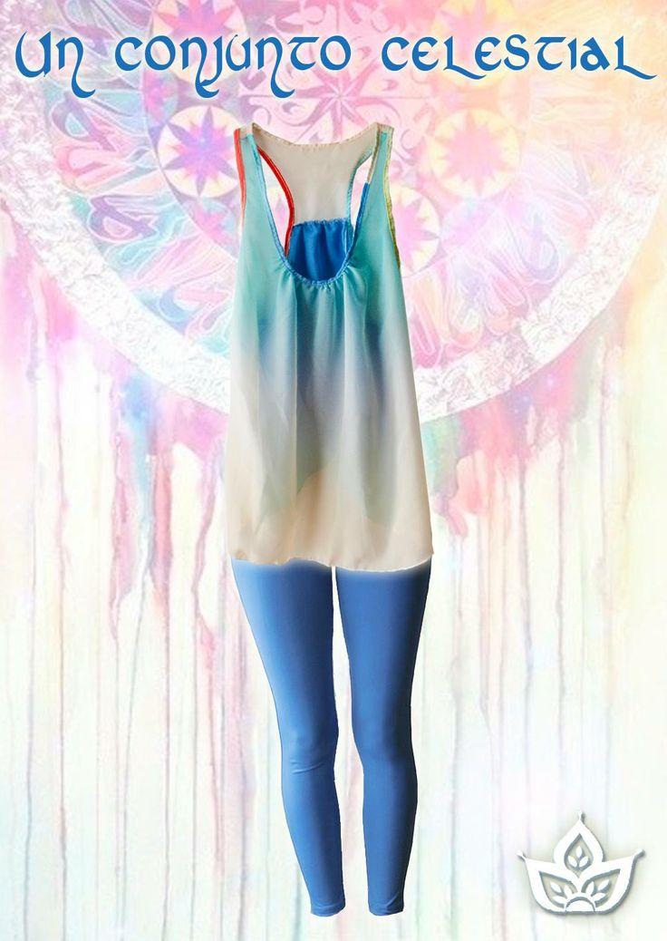 Musculosa Arcoiris base celeste con calza de lycra en el mismo color