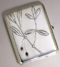 A JEWELLED SILVER CIGARETTE-CASE  marked Fabergé with Imperial warrant, Moscow, circa 1896,