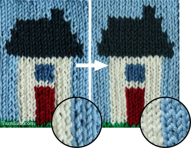 Neater intarsia - A simple fix for uneven stitches around a vertical color change. From yarnsub.com blog