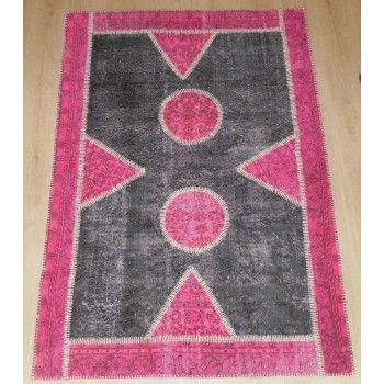 130x183 cm Gray & Pink PATCHWORK Rug