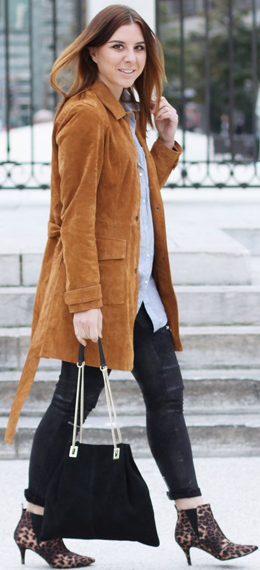 Who Is Mocca ? Camel Suede Jacket Leopard Pointy Booties Fall Streestyle Inspo: