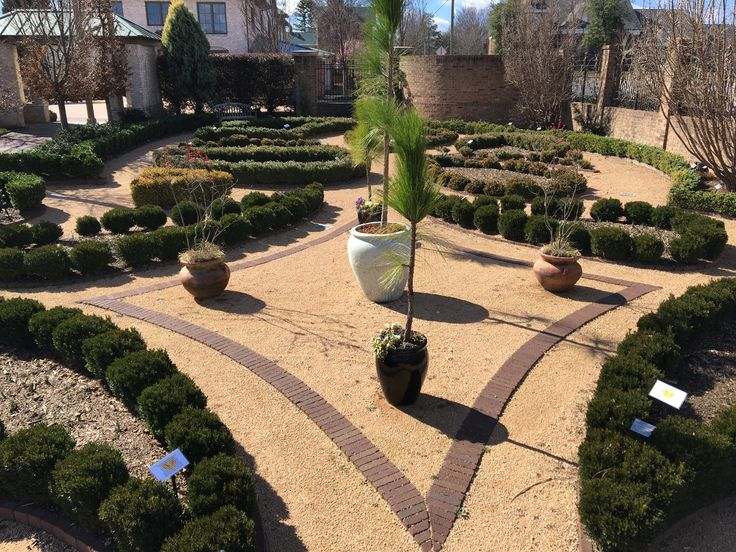 Classical Style Pattern Garden Creates Shapes With Brick Clay Pavers. Part 64