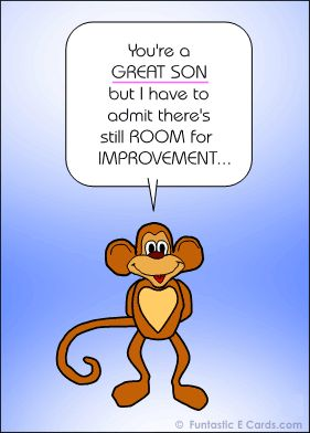 happy birthday greetings for son with cartoon monkey sending bday joke