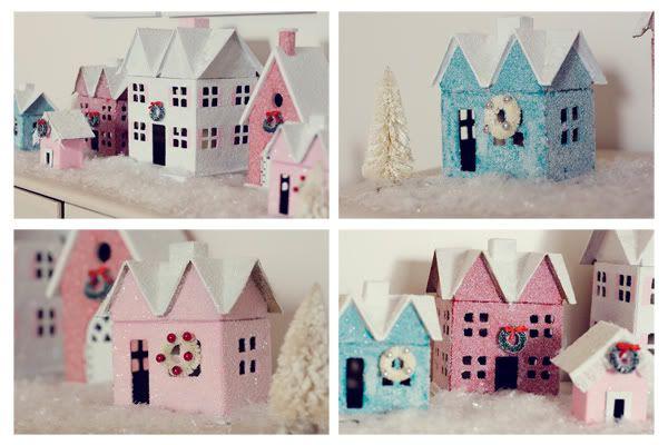 .: Cardboard House, Minis House, Glitter Houses, Christmas Glitter, House Christmas, Glitter Christmas, Christmas House, Paper House, Vintage Glitter House