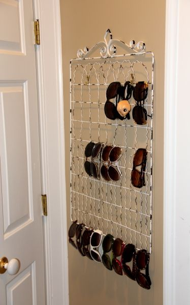 perfect way to organize our massive sunglasses collection.  Can you guess which ones are my husbands? #storage