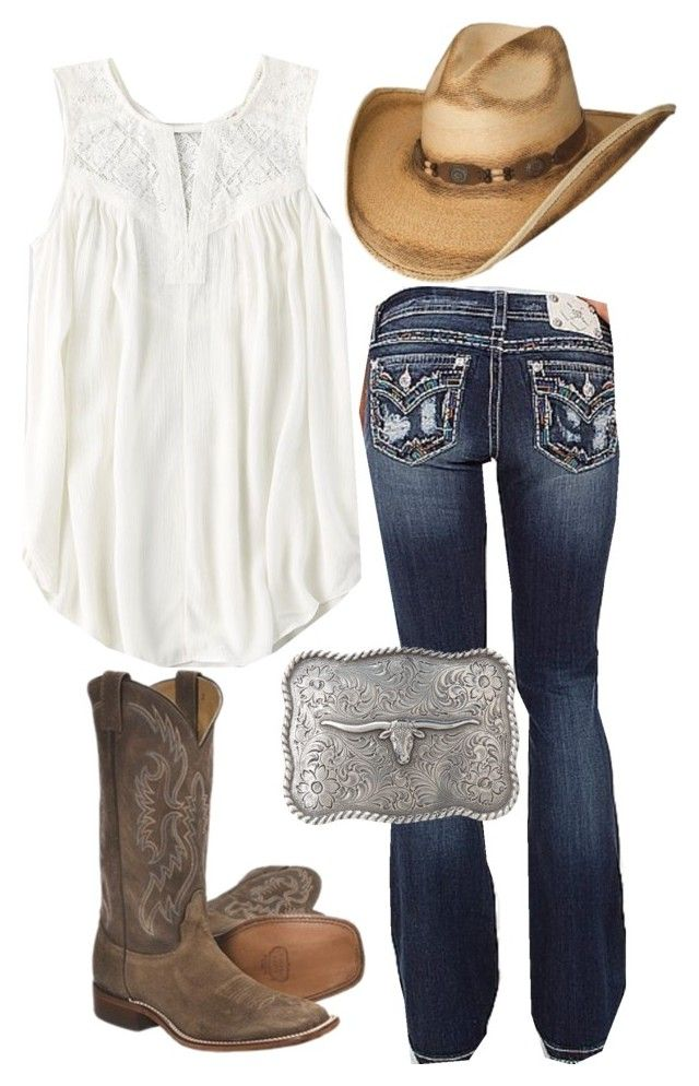 """Workin' at the fair, four more days of bull ridin' and barrel racin'"" by americanhoney-1 ❤ liked on Polyvore featuring Miss Me, Nocona, M&F Western and American Eagle Outfitters"