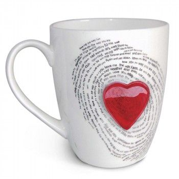 Fine workmanship combined to make just one sparkling statement – you are my precious! Capturing the eternal love you share with your beloved, this artistic, pristine bone china mug features a platinum 'fingerprint of love' as the symbol of a love that is eternal. The mug is set with a unique hand-crafted 'Red heart' of Glass, that gives every piece an intense design twist and an extra touch of Romance. Packaged in a specially designed beautiful complementary gift box.