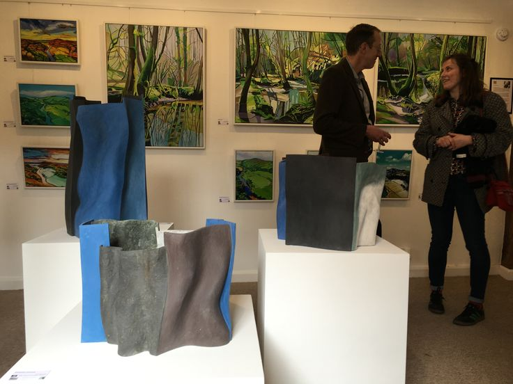 Professional hanging system and spotlights, plus freshly painted plinths at one end of gallery. paintings by @emmacownie  and ceramics by @keneastman opening exhibition April 2016