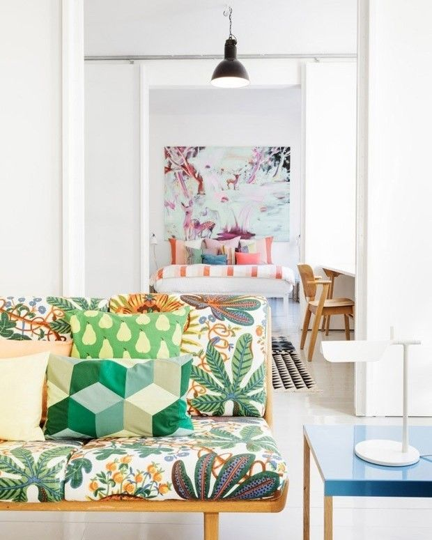 Love the way these bold prints add extra personality to this space- interior, design