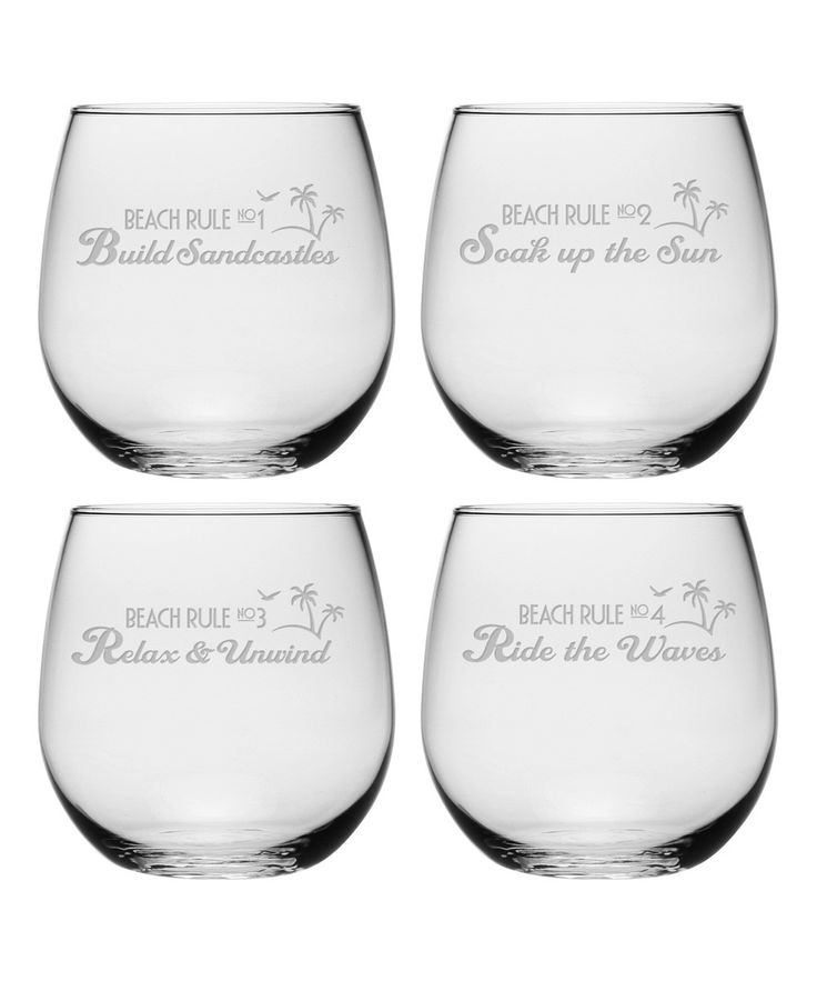 Beach Rules Stemless Wine Glasses ~ Set of 4