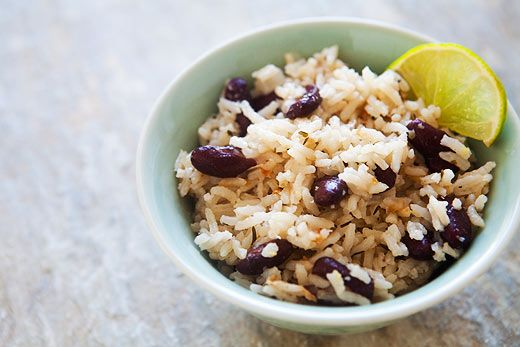 Jamaican Rice and Peas ~ Long grain rice, cooked in coconut milk with beans, a favorite side dish of Jamaica. ~ SimplyRecipes.com