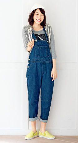 デニムオーバーオールで元気スタイル♪ ☆ティーンズのスタイル・ファッション コーデ集☆
