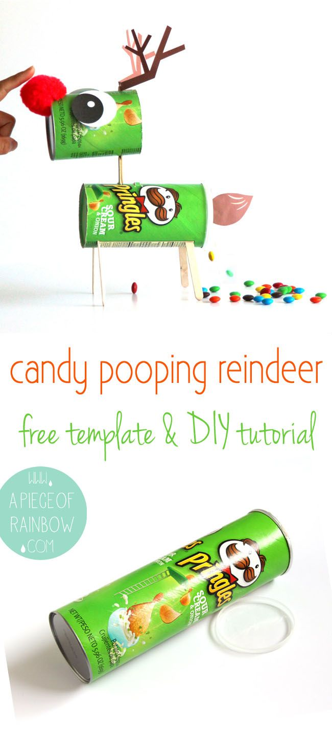 This is not just any Reindeer, it can poop M&Ms! Turn a Pringles can into a magical CANDY-POOPING Reindeer or a fun Christmas decoration! Free template included. This holiday is going to be epic sweet! - A Piece Of Rainbow