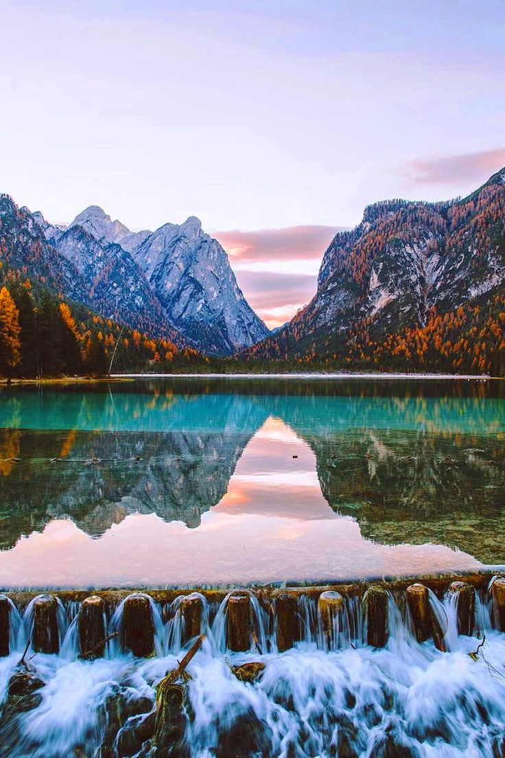 Lake Toblach in Dolomites, Italy
