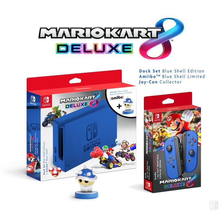 Dock set mario kart 8 deluxe amiibo collector blue shell for Housse nintendo switch mario