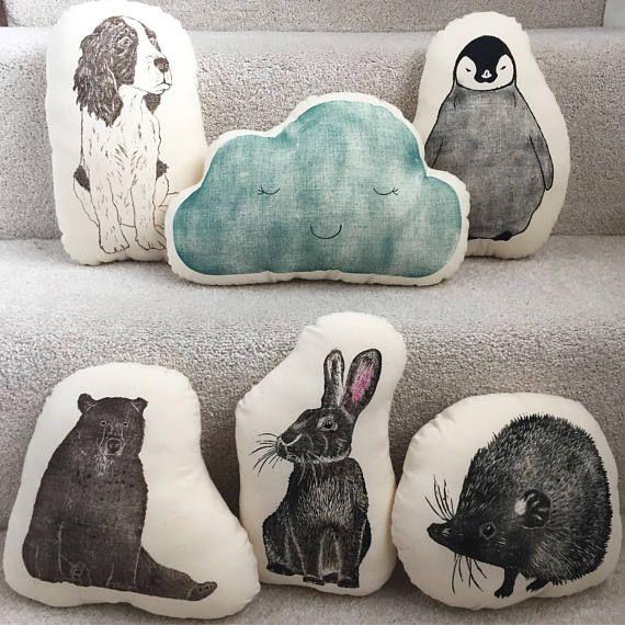 Turquoise cloud cushion cloud plushie Handprinted lino