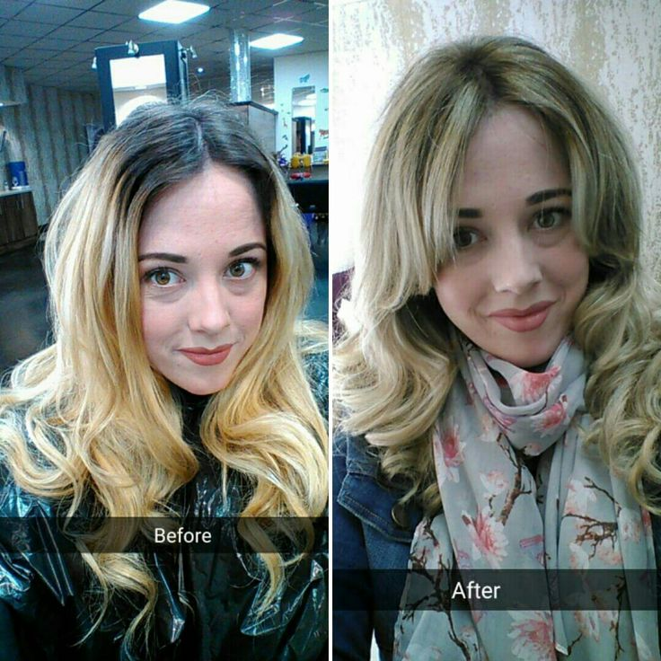 Before and after clean blonde balayage