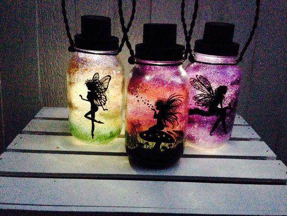 SET OF 3, Fairy Mason Jar Light, Outdoor Solar Light, Hand Painted Mason Jar, Hanging Lantern, Quart Size, Outdoor Lighting by CareBaresCreations, $51.95