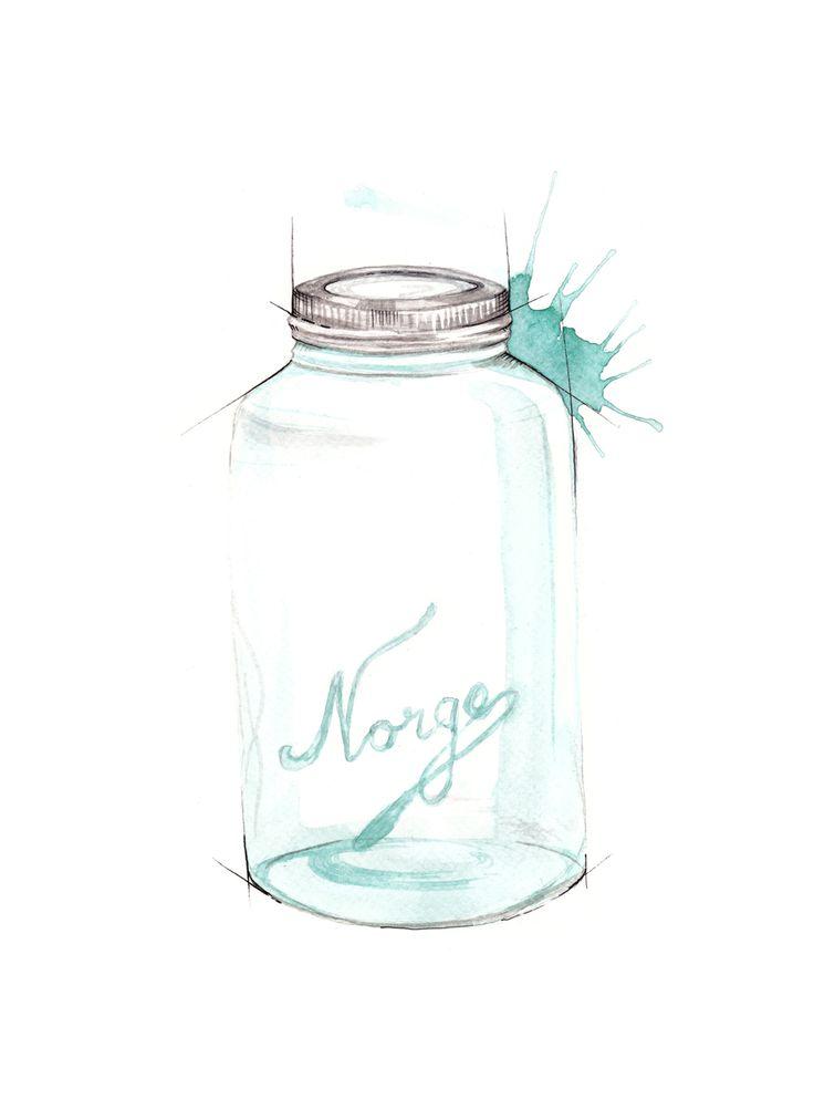 """Norgesglass"" (Norwegian vintage jar)  Copyright: Emmeselle.no   illustration by Mona Stenseth Larsen"