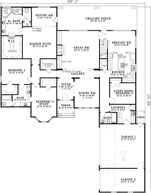 Plan W59567ND: 3, 4 or 5 Bedroom House Plan