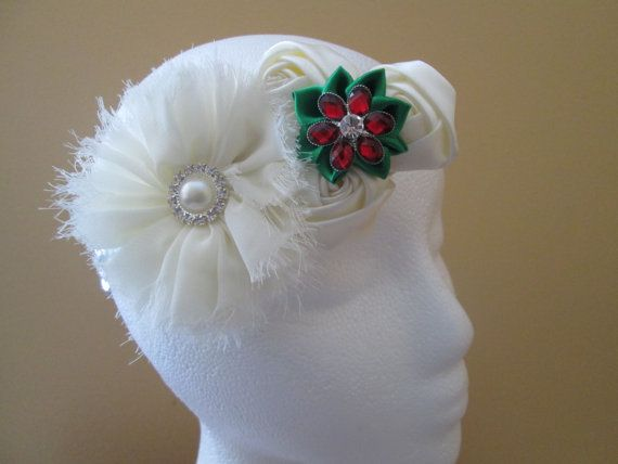 Ivory Christmas Headband Baby Girl's First by NakedOrchidGarters