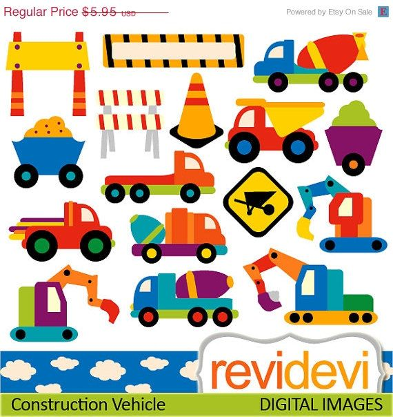 OFF SALE Digital Clipart Construction Vehicle Commercial Use For Personalized Party Printable Kit Printed Cards Web Design