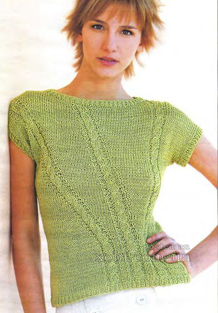 женский пуловер с коротким рукавом спицами