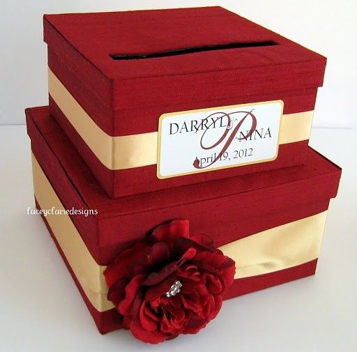 red/gold wedding money box ($94.00 at Etsy).