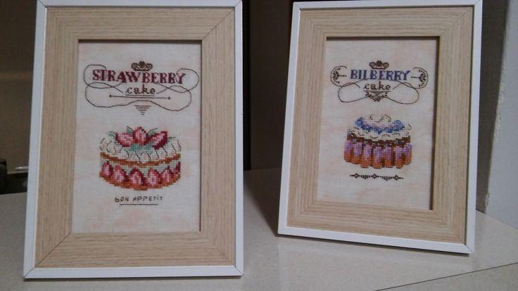 cake, cross stitch kitchen, strawberry cake, food