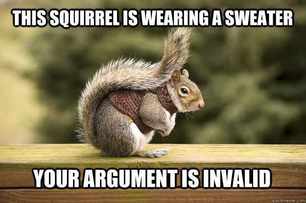 This squirrel is wearing a sweater Your argument is invalid