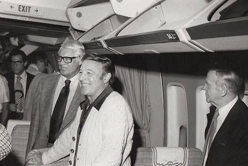 Fred Astaire with Gene Kelly and Cary Grant on a airplane going to the Cannes Film Festival in 1976