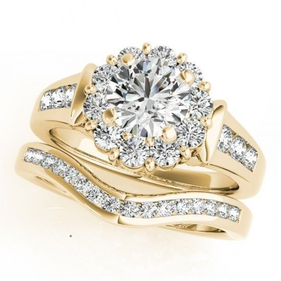 14k Yellow Gold Plated  Diamond  Round Cut Women's Bridal Engagement Ring Set  #aonedesigns