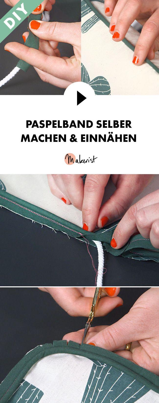 Paspelband selber machen und einnähen - Schritt für Schritt erklärt im Video-Kurs via Makerist.de
