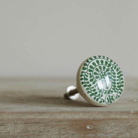 Green Floral Resin Door Knob | Door Knobs & Handles | Graham & Green