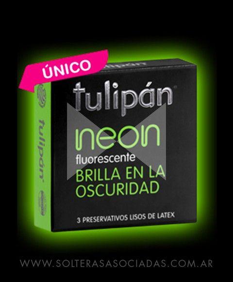 Preservativos neón - Comprar en Solteras Asociadas. 1 caja de 3 preservativos de látex color neón (glow in the dark) marca Tulipán.