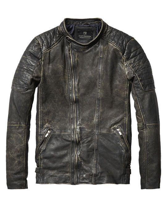 Chaqueta motera de piel lavada - Scotch & Soda