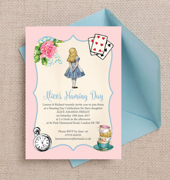 Alice In Wonderland Naming Ceremony Day Invitation. Printable PDF Or  Professionally Printed. Personlise Online