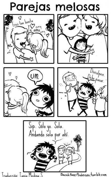 Comic que ilustra la lógica femenina chica al ver parejas de gente enamorada