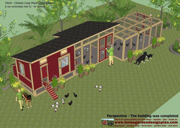 home garden plans: M104 - Chicken Coop Plans Construction - Chicken Coop Design - How To Build A Chicken Coop