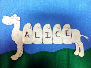 "Cute felt board activity for the song ""Alice the Camel"" (except that I always thought it was Sally the Camel)    Also envisioning a center where they make a camel out of their own name."