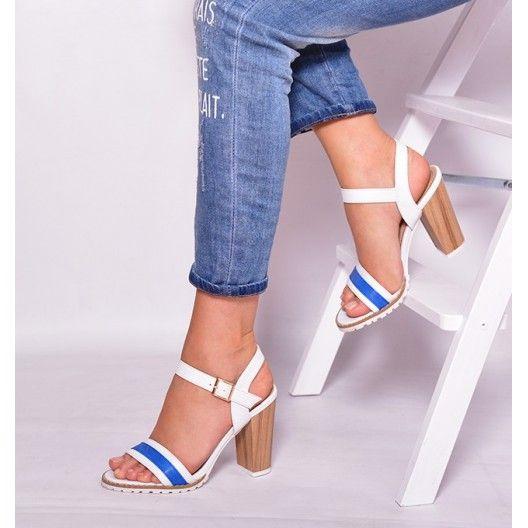 Sandále na vysokom opätku bielo modrej farby s otvorenou špičkou - fashionday.eu