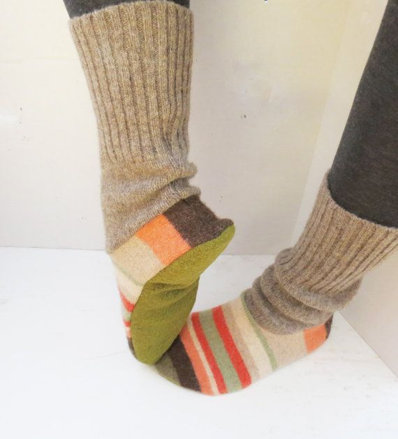 womens slipper socks made from recycled wool sweaters