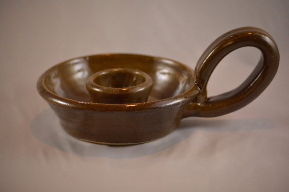 Candle Holder Taper Candle Holder Brown Candle by BarbaraJWilson