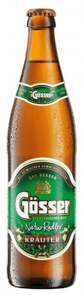 Gösser NaturRadler Kräuter. Der erste naturtrübe Kräuterradler in Österreich. Ausgewählte, heimische Sommerkräuter werden mit vollmundigem Gösser Bier vermischt. Sämtliche Zutaten sind zu 100% natürlichen Ursprungs und schmecken besonders harmonisch.
