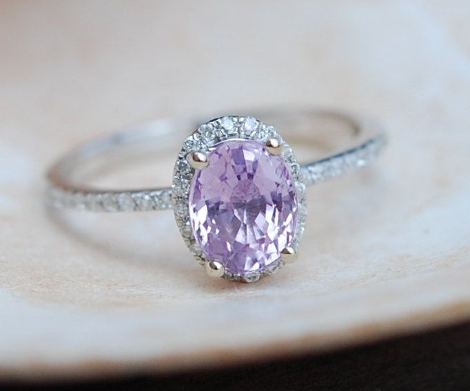 Lavender Sapphire Engagement Ring 14k white gold by EidelPrecious